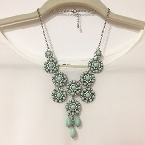 Mint Stone & Rhinestone Statement Necklace